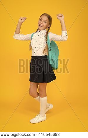 School Club. Private Schooling. Teen With Backpack. Cute Smiling Schoolgirl. Girl Little Schoolgirl