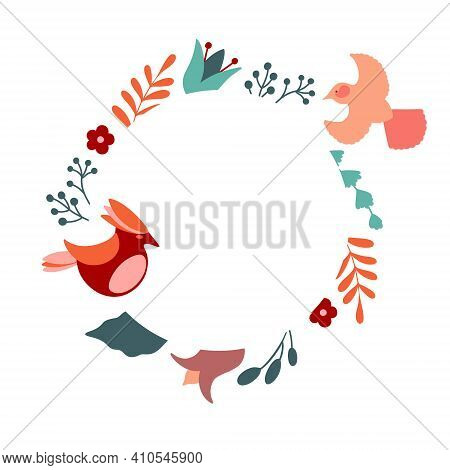 Floral Frame With Two Birds. Vector Decorative Round Frame With Stylised Flowers And Birds. Decorati