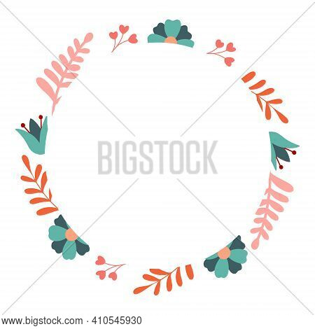 Floral Frame Vector Decorative Round Frame With Stylised Flowers. Decoration In Naive Scandinavian S