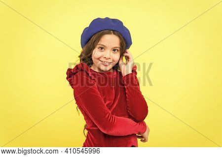 Looking Co Cute. Smiling Stylish Teen Girl In French Beret. Parisian Kid Wear Red Dress. Elegant Loo