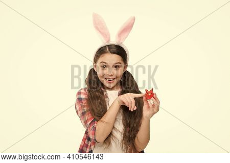 Adorable Bunny. Cute Little Girl Wearing Bunny Ears Headband. Looking Pretty In Easter Bunny Attire.