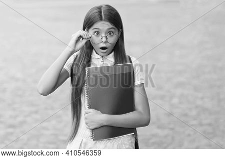 Wow. Surprised Child Look Through Glasses Outdoors. Sight Test. Eye Check For School. Vision Screeni