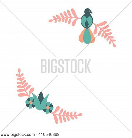 Floral Wreath With Bird. Vector Decorative Round Frame With Stylised Flowers And Bird. Decoration In