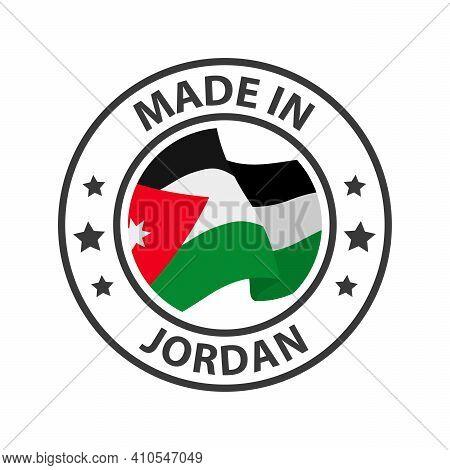 Made In Jordan Icon. Stamp Sticker. Vector Illustration