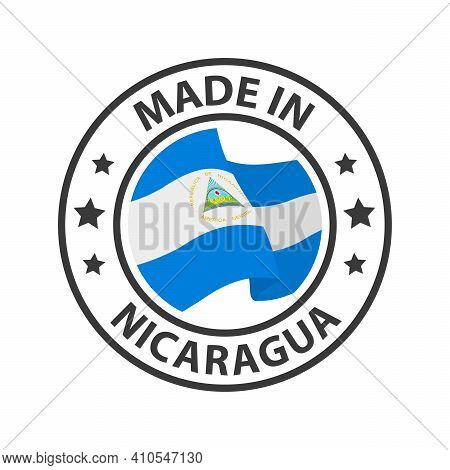 Made In Nicaragua Icon. Stamp Sticker. Vector Illustration