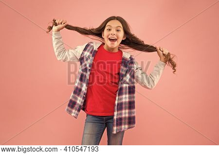 I Am Just A Girl. International Childrens Day. Child Smiling Face. Schoolgirl Teen Girl In Casual St