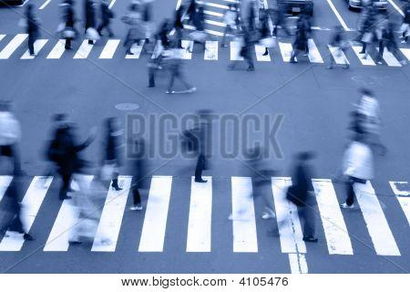 People Crossing The Street-Blue Tones
