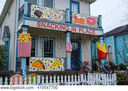 New Orleans, La - February 6: Uptown House Decorated As Mardi Gras Float In Lieu Of Parades During C