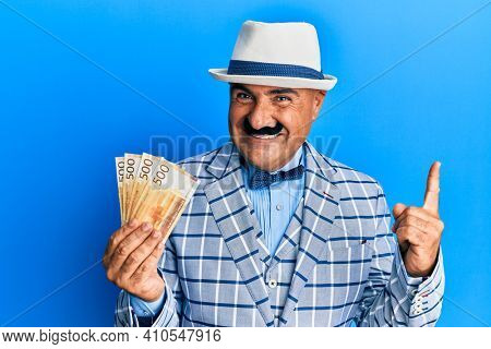Mature middle east man with mustache wearing elegant vintage style holding norwegian krone smiling happy pointing with hand and finger to the side