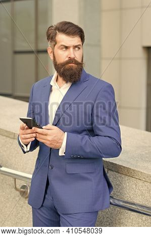 Talent Of Managing. Online Business. Bearded Man With Smartphone. Businessman Send Sms Using Smartph