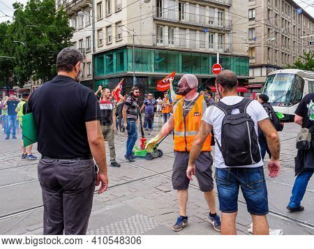 Strasbourg, France - Jun 18, 2018: Closed Tramway Line By Large Crowd Of People, Employees Of Sncf P