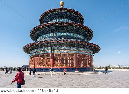 Beijing, China - April 29, 2010: Temple Of Heaven. Central Pagoda Is Circular, Painted In Reds, Blue