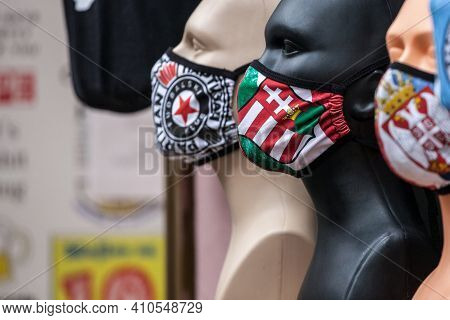 Subotica, Serbia - November 20, 2020: Dummies With Facemask With The Coat Of Arms Hungary And A Face