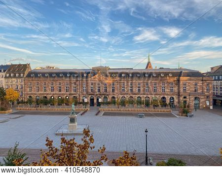 Strasbourg, France - Oct 31, 2020: Aerial View Over The Iconic Place Kleber In Central Strasbourg Du