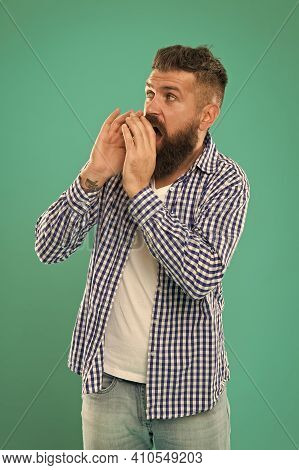 Come To Our Barbershop. Hipster Invite Customers To Barbershop. Bearded Man In Casual Style. Barbers