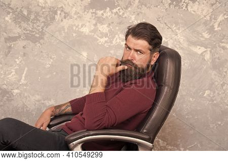 Soft Supportive Seat. Office Furniture. Comfortable Armchair. Manager Sit Leather Armchair. Good Adj