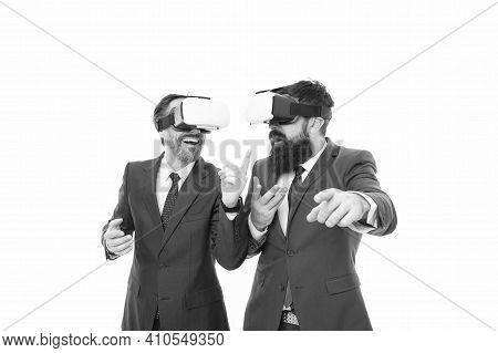 Business Innovation. Vr Presentation. Men Vr Glasses Modern Technology White Background. Team Of Inn