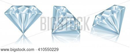 Set Of Realistic Diamonds With Reflection Or Realistic Diamonds With Various View Concept. Eps 10 Ve