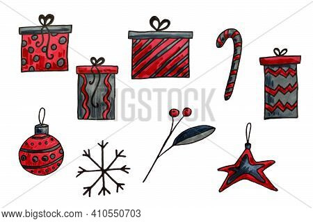 Hand Drawn Christmas Seasonal Elements. Festive Illustration Isolated On White Background. Christmas