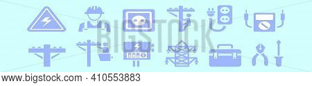 Set Of Lineman Cartoon Icon Design Template With Various Models. Modern Vector Illustration Isolated