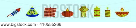 Set Of Diwali Crackers Cartoon Icon Design Template With Various Models. Modern Vector Illustration