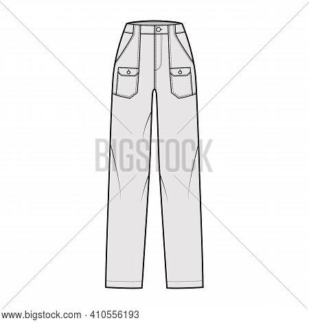 Bush Pants Denim Pants Technical Fashion Illustration With Normal Waist, High Rise, Patch Bellows Ca