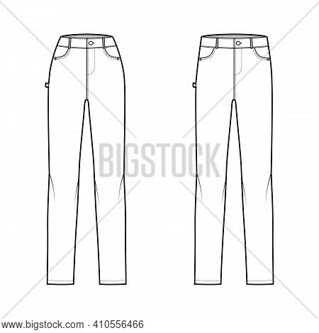 Set Of Jeans Carpenter Denim Pants Technical Fashion Illustration With Full Length, Normal Low Waist