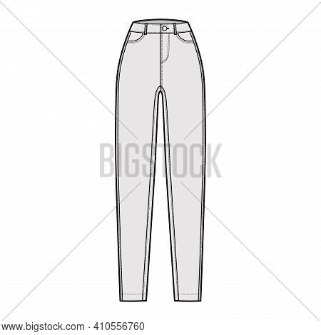 Jeans Tapered Denim Pants Technical Fashion Illustration With Full Length, Normal Waist, High Rise,