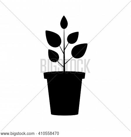 Black Flowerpot On White Background. Vector Isolated Outline Drawing.  Floral Background. Nature Art