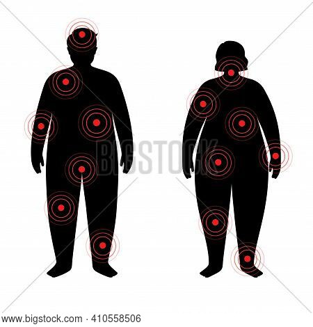Pain In Obese Woman And Man Body. Problem With Liver, Pancreas, Lungs And Other Organs In Overweight
