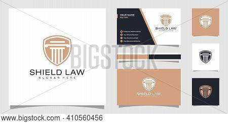 Law Firm Shield Logo Design Vector And Business Card