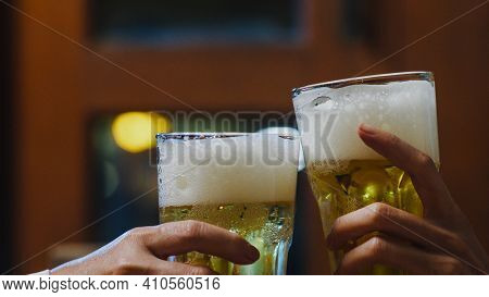 Group Of Happy Tourist Young Asia Friends Drinking Alcohol Or Craft Beer And Having Hangout Party In