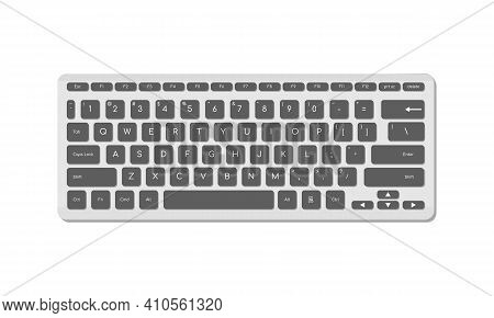 The Computer Keyboard Is Light With Gray Buttons And Symbols. A Modern Image Of A Computer Keyboard.