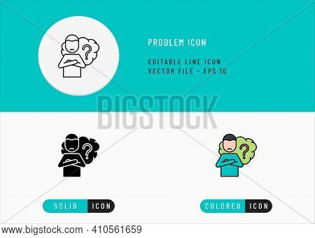Problem Icons Set Editable Stroke Vector Illustration. Person Doubt Difficulty Symbol. Icon Line Sty