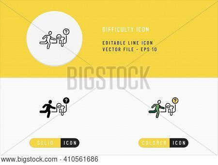 Difficulty Icons Set Editable Stroke Vector Illustration. Person Ask Problem Symbol. Icon Line Style