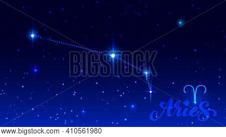 Constellation Aries In Night Sky. Zodiac Sign Symbol And Ornate Text Aries. Vector Illustration