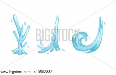 Water Splashes And Waves Set, Purity, Ecology, Cosmetic And Beauty Concept Cartoon Vector Illustrati