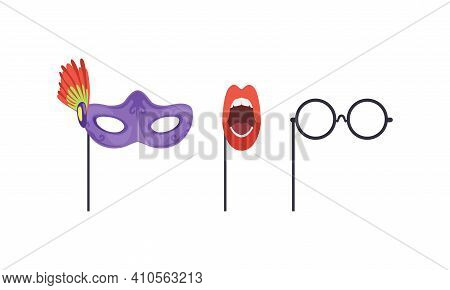 Set Of Masquerade Party Costume Accessories, Venetian Mask, Round Glasses, Open Mouth With Red Lips