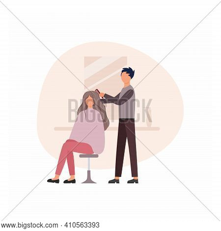 Barber A Man Does A Girl's Hair In A Barber Shop Next To The Mirror. Concept Of Services Of A Hair S