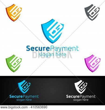 Shield Online Secure Payment Logo For Security Online Shopping. Financial Transaction. Sending Money