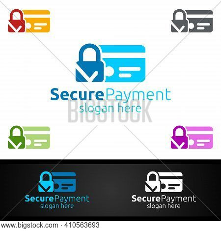 Lock Online Secure Payment Logo For Security Online Shopping. Financial Transaction. Sending Money.