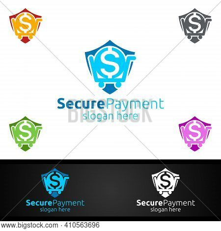 Shopping Online Secure Payment Logo For Security Online Shopping. Financial Transaction. Sending Mon
