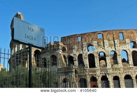 Rome Coliseum And Via Sacra