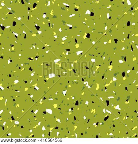 Geometric Green Terrazzo Seamless Pattern. Abstract Colourful Modern Background. Stone Fashion Desig