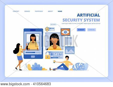 People Access Smartphone Using Optical Facial Scanning Security Technology. Artificial Mobile Apps S