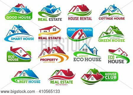 Realtors Real Estate Icons With Cottage Houses. Rental Apartments, Land For House Construction Purch