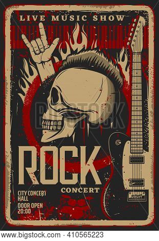 Rock Music Live Convert Retro Flyer Or Poster Template. Human Skull With Mohawk Hairstyle, Electric