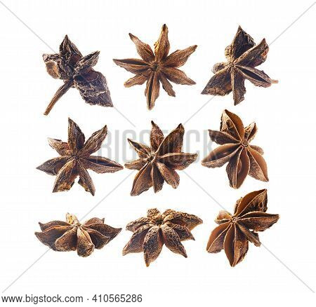 A Set Of Anise Stars. Isolated On A White Background