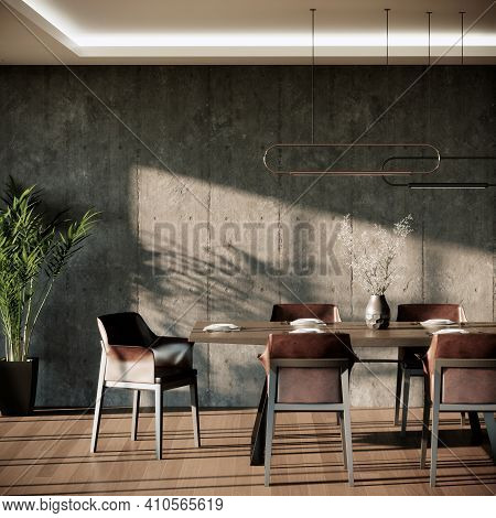 Modern Loft Dining Room Interior With Brown Leather Armchairs Wooden Table. 3d Rendering Dining And