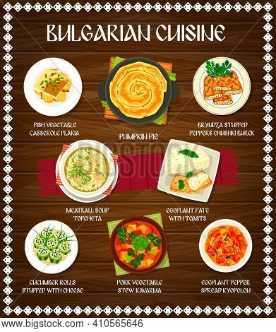 Bulgarian Cuisine Food Of Vector Vegetable, Meat And Fish Dishes On Wooden Background. Bryndza Stuff